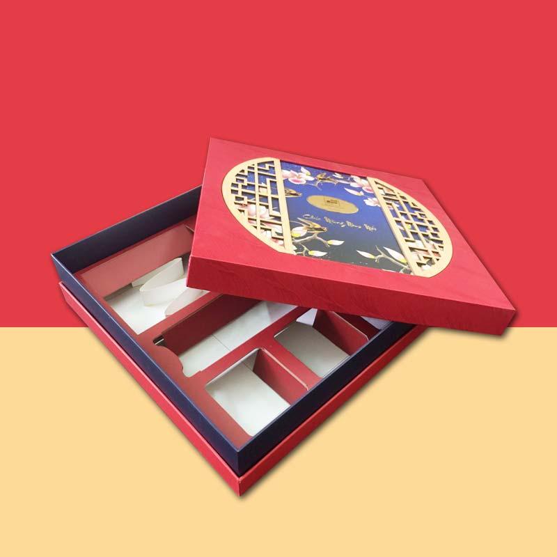hộp đựng quà tết nắp âm dương, có ngăn giấy xếp