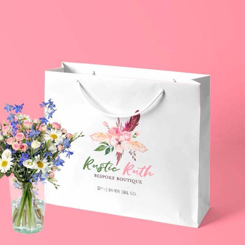 túi giấy đựng mỹ phẩm hoa lá