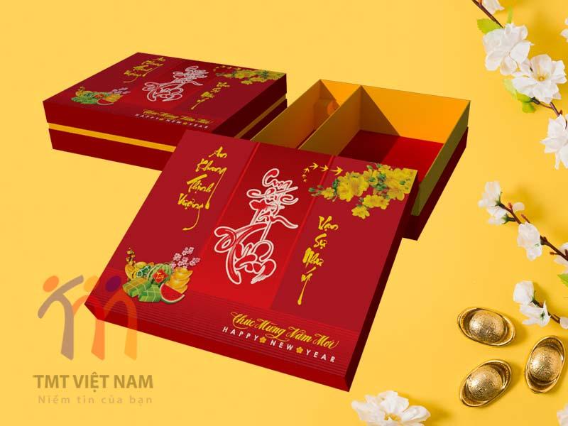 hộp đựng quà tết có sẵn mẫu truyền thống