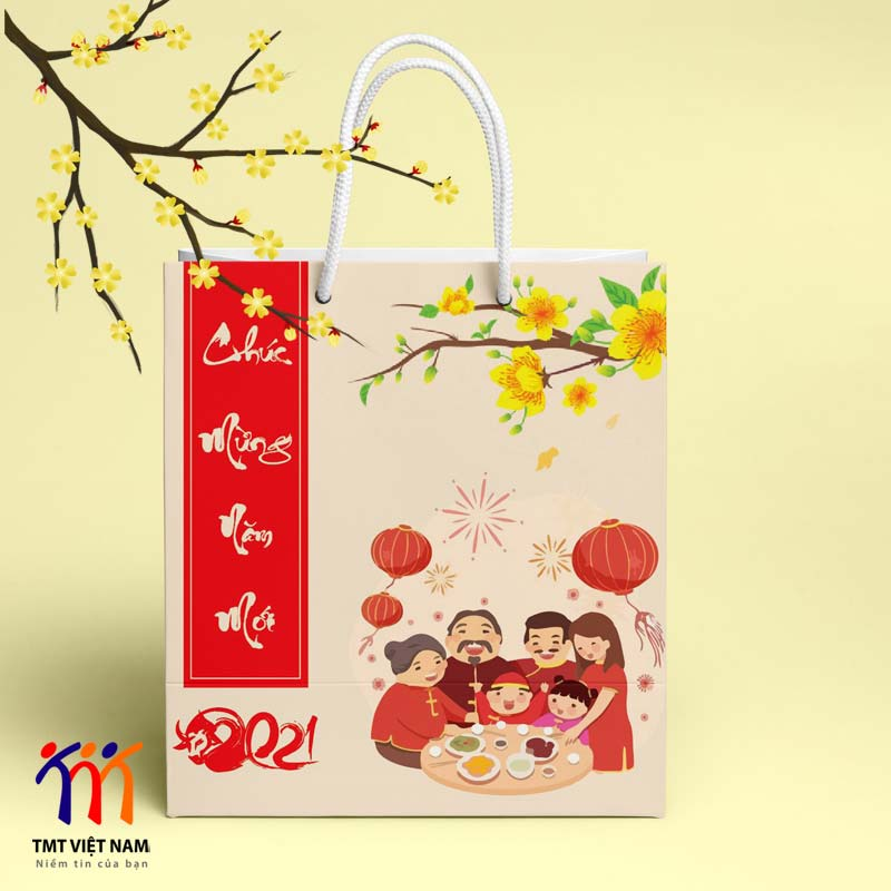 Túi giấy đựng quà tết phong cách chibi