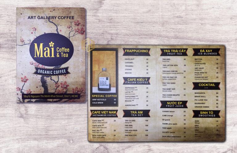 mẫu menu quán cafe đẹp, ấn tượng