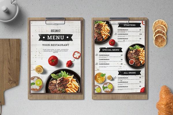 mẫu in menu nhà hàng đẹp chất lượng
