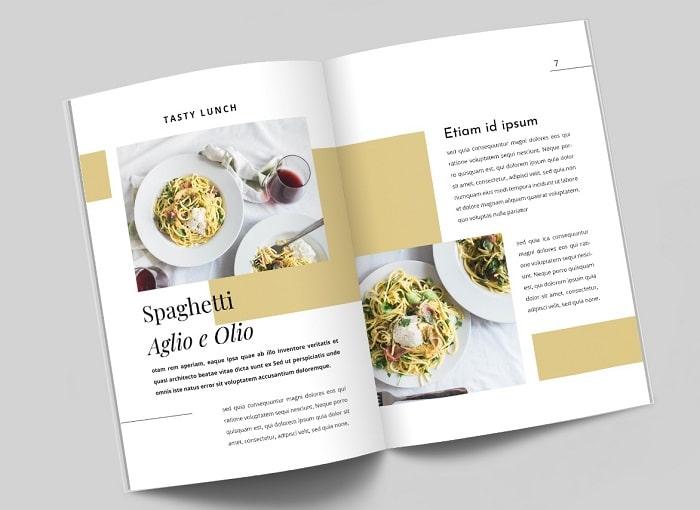 mẫu catalogue ẩm thực đẹp hiện đại