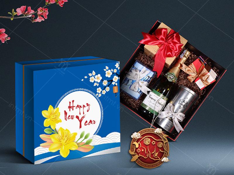 hộp đựng quà tết hoa mai xanh